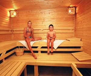 child and sauna